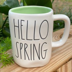 New Rae Dunn HELLO SPRING Mint Green Interior Mug
